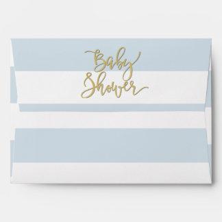 Baby Shower | Elegant Gold Confetti & Blue Stripes Envelope