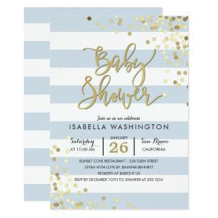 Baby Shower | Elegant Gold Confetti U0026 Blue Stripes Invitation