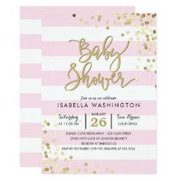 Baby Shower   Elegant Gold Confetti & Pink Stripes Card
