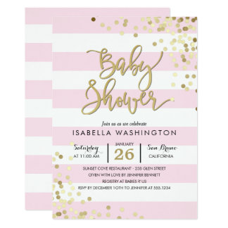 Baby Shower | Elegant Gold Confetti & Pink Stripes Card