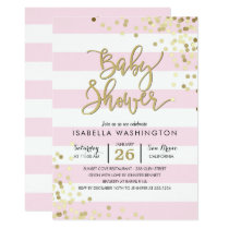 Baby Shower | Elegant Gold Confetti & Pink Stripes Invitation