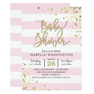 Baby Shower   Elegant Gold Confetti & Pink Stripes Invitation