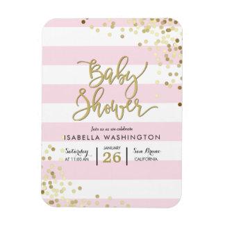 Baby Shower | Elegant Gold Confetti & Pink Stripes Magnet