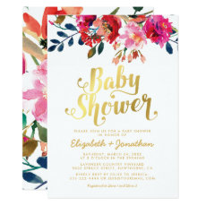 Baby Shower Elegant Pink Floral Gold Invitation