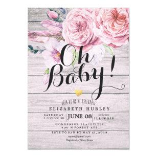 Baby Shower Elegant Watercolor Fl Rustic Wood Invitation