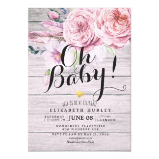 Baby Shower Elegant Watercolor Floral Rustic Wood Invitation