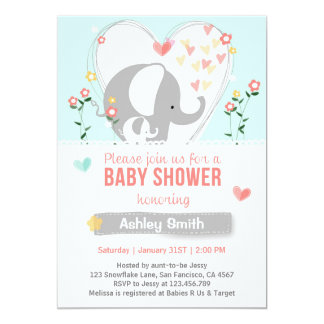 baby shower elephant boy or girl teal peach invite