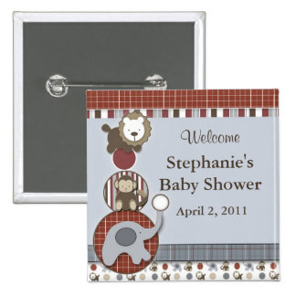Baby Shower Elephant Monkey & Lion Button
