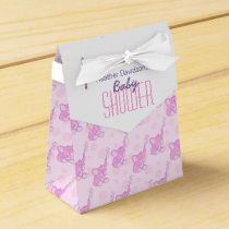 Baby shower elephants pink white gift favor box