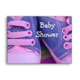 Baby Shower Envelopes Personalize Pink Shoes