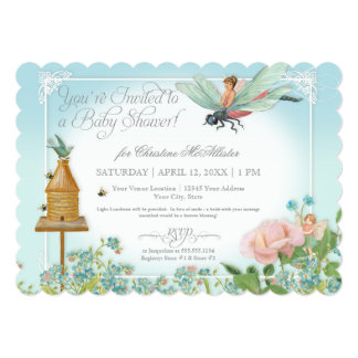 Baby Shower Fairy Garden Bees Dragonfly Rose Art 5x7 Paper Invitation Card