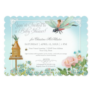 Fairy baby shower invitations announcements zazzle baby shower fairy garden bees dragonfly rose art card filmwisefo Images