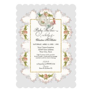 Baby Shower Fairy Tea Party Teapot n Cups Card