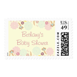 Baby Shower Fancy Modern Floral Postage Stamp
