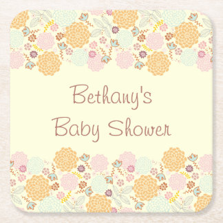Baby Shower Fancy Modern Floral Square Paper Coaster