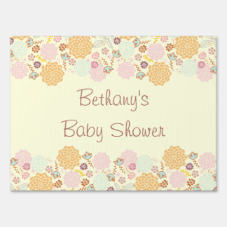 Baby Shower Fancy Modern Floral Lawn Signs