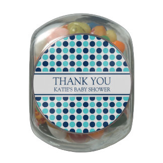 Baby Shower Favor Candy Jar Teal Blue Dots Jelly Belly Candy Jar