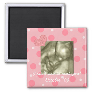 Baby Shower Favor Dots and Hearts Magnet