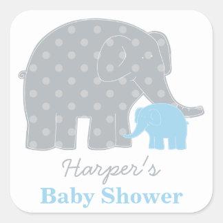 Baby Shower Favor Sticker | Elephant Gray and Blue Square Sticker