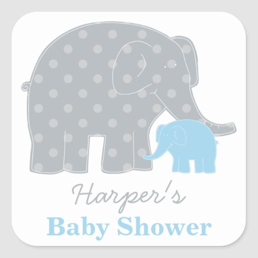 Baby Shower Elephant Stickers ~ Baby shower favor sticker elephant gray and blue square
