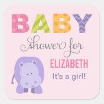 Baby Shower Favor Sticker   Hippo Jungle Animal