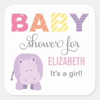 Baby Shower Favor Sticker | Hippo Jungle Animal