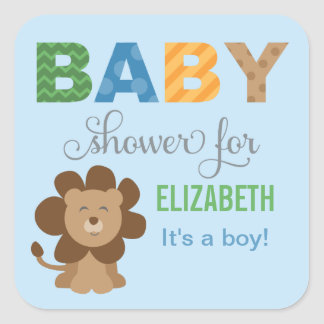 Baby Shower Favor Sticker | Lion Jungle Animal Square Sticker