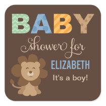 Baby Shower Favor Sticker | Lion Jungle Animal