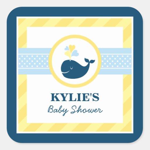 Baby Shower Favor Sticker | Nautical Preppy Whale