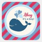 Baby Shower Favor Sticker | Whale Ahoy Boy