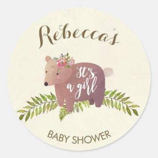 baby shower favor sticker woodland bear girl