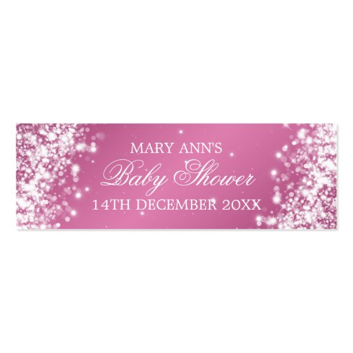 Baby Shower Favor Tag Sparkling Wave Pink Business Card Templates