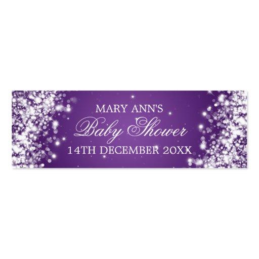 Baby Shower Favor Tag Sparkling Wave Purple Business Card