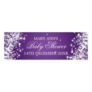 Baby Shower Favor Tag Sparkling Wave Purple Mini Business Card