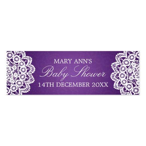 Baby Shower Favor Tag Vintage Lace Purple Business Card Templates