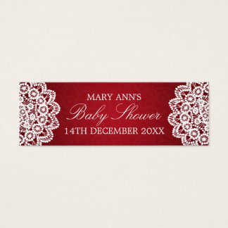 Baby Shower Favor Tag Vintage Lace Red