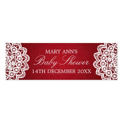 Baby Shower Favor Tag Vintage Lace Red Business Card