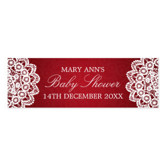 Baby Shower Favor Tag Vintage Lace Red Mini Business Card