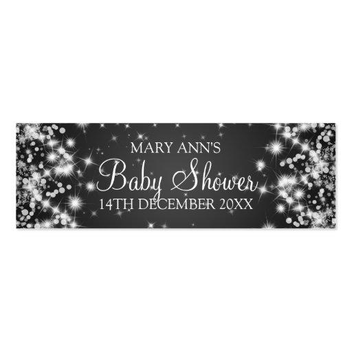 Baby Shower Favor Tag Winter Sparkle Black Business Cards