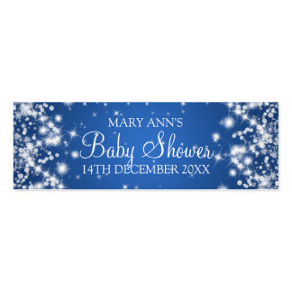 Baby Shower Favor Tag Winter Sparkle Blue Mini Business Card