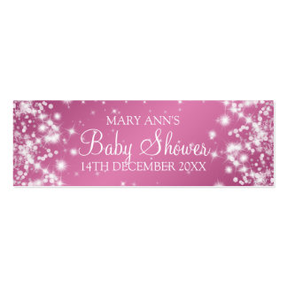 Baby Shower Favor Tag Winter Sparkle Pink Mini Business Card