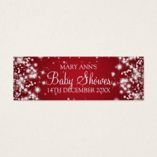 Baby Shower Favor Tag Winter Sparkle Red