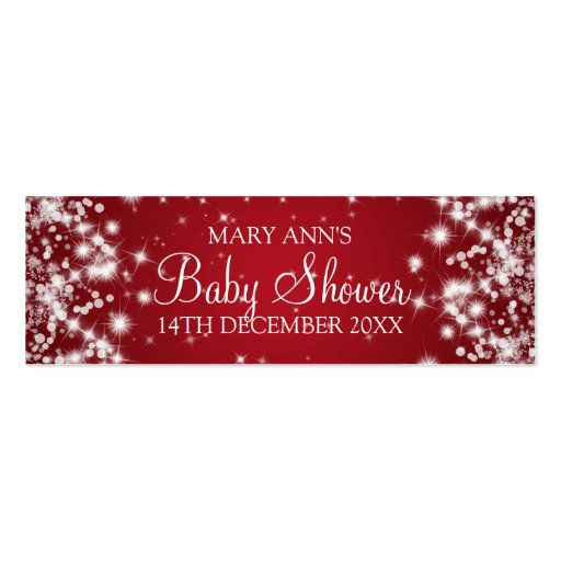 Baby Shower Favor Tag Winter Sparkle Red Business Card Template