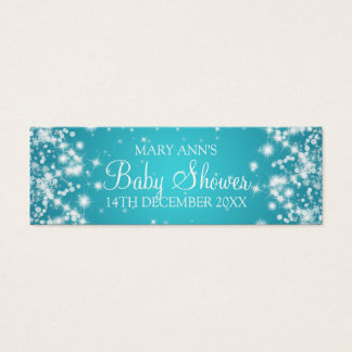 Baby Shower Favor Tag Winter Sparkle Turquoise