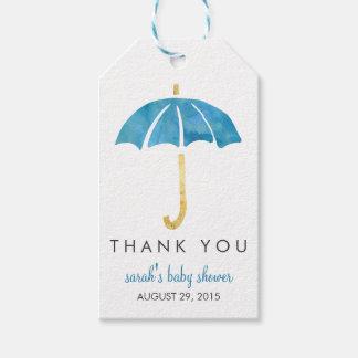 Baby Shower Favor Tags   Blue Umbrella