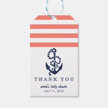 Toddler & Baby themed Baby Shower Favor Tags | Coral Nautical Stripe