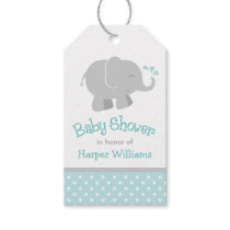 Baby Shower Favor Tags| Elephant Aqua Gray Gift Tags