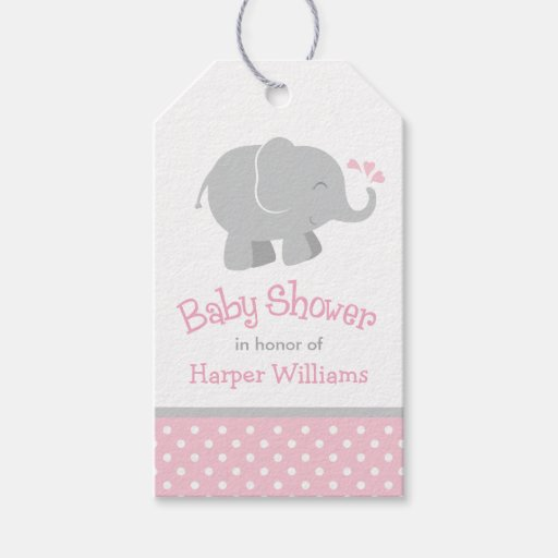 Baby Shower Favor Tags Elephant Pink Gray Zazzle