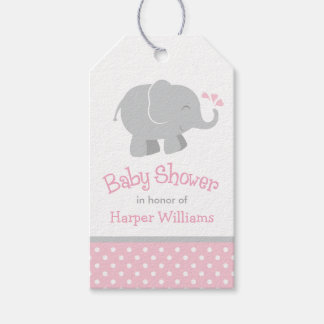 Baby Shower Favor Tags | Elephant Pink Gray Pack Of Gift Tags