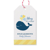 Baby Shower Favor Tags   Nautical Whale Theme